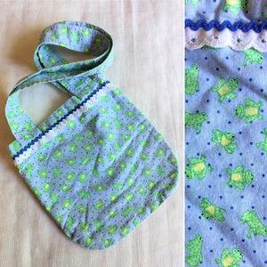Vintage child's handmade frog print tote bag